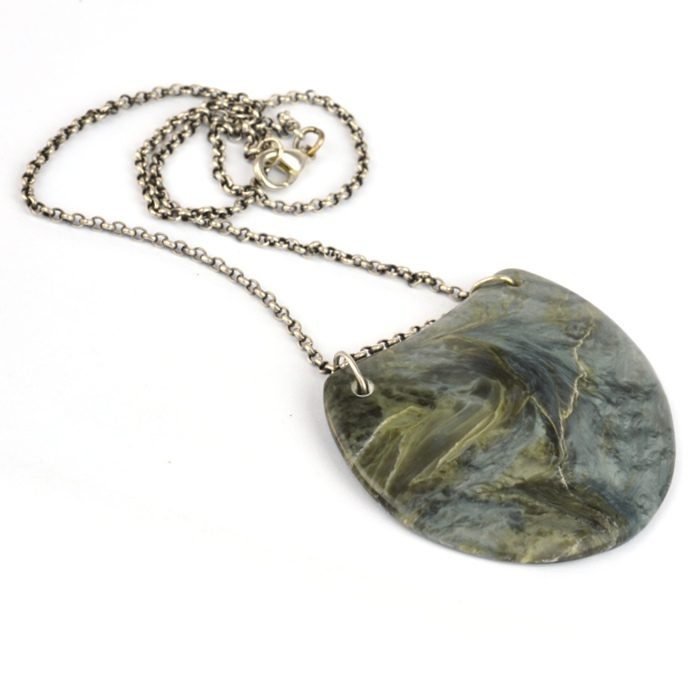 Silver and Blue chatoyant pounamu nephrite pendant with sterling silver chain