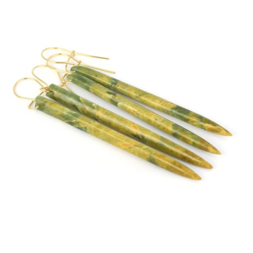 Marsden flower jade long point earrings on golden hooks