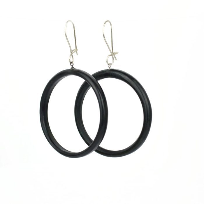 Pounamu hoop earrings made from Tangiwai with sterling silver hooks