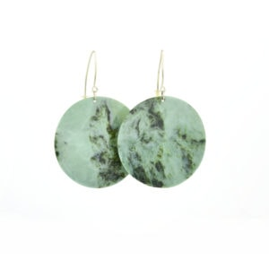 blue pounamu disc earrings with handmade ethically sourced sterling silver hooks