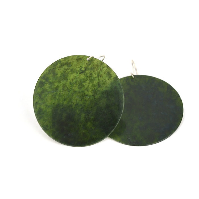 Large Tangiwai pounamu disc earrings on sterling silver hook