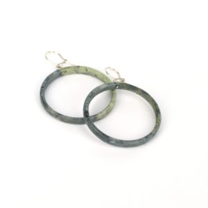 Cream and grey kokopu pounmau hoop earrings medium size