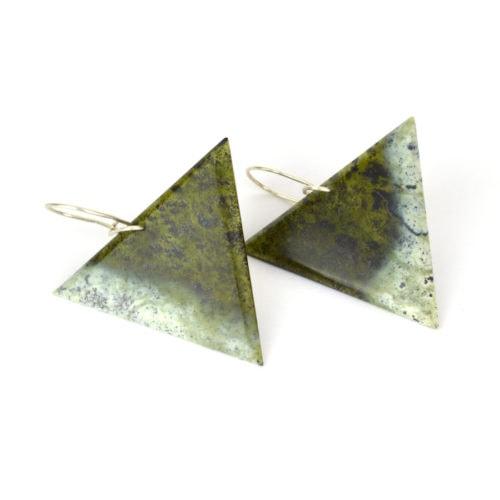 Small tangiwai pounamu earrings with white edging