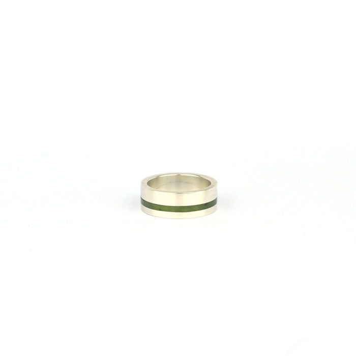 Off set Pounamu ring with sterling silver