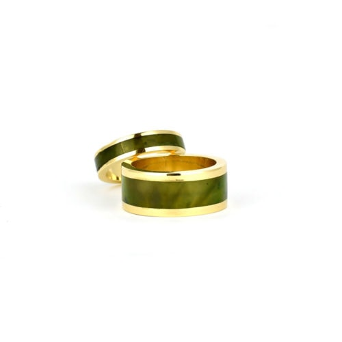 gold and pounamu wedding rings