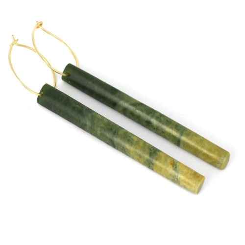 marsden flower jade long earrings on rolled gold hoops