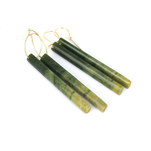 Marsden flower jade long rod earrings on gold hoops