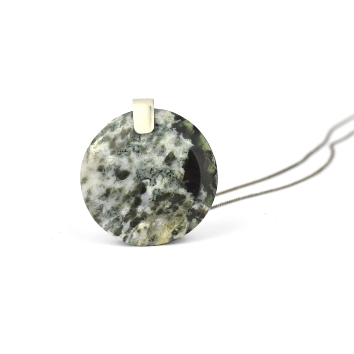 albite and Pounamu pendant on sterling silver chain