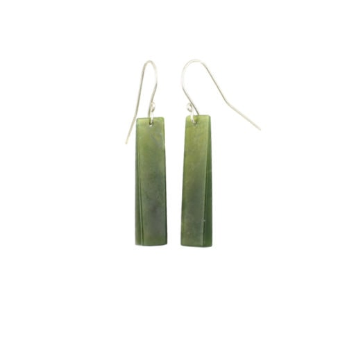 green pounamu wedge earrings