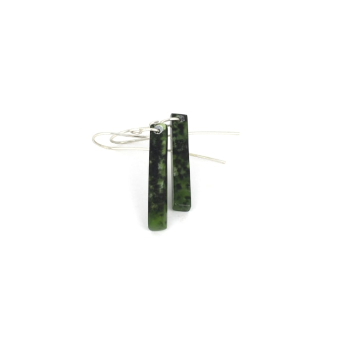 small pounamu earrings in dark green kawakawa