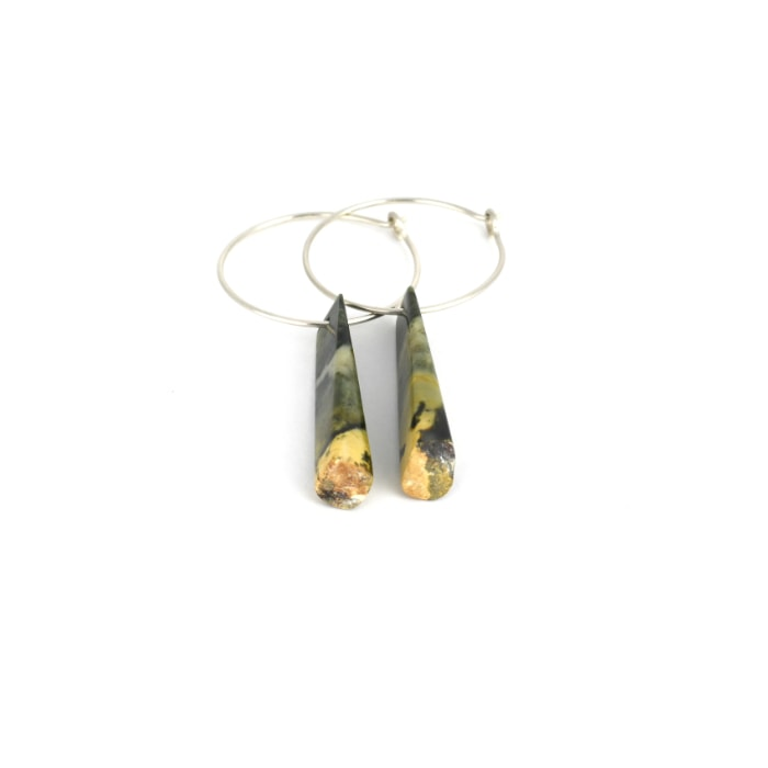 rounded, gold end, pounamu wedge earrings on sterling silver hoops