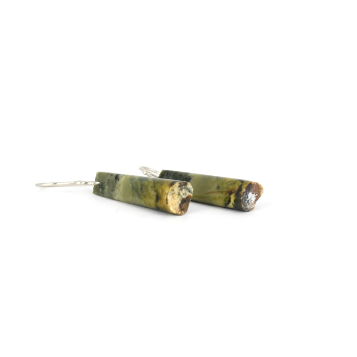 Unique pounamu wedge earrings with stunning patterns, on gold hooksooks