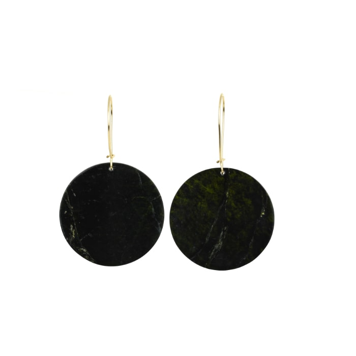 dark tangiwai pounamu earrings with gold hooks