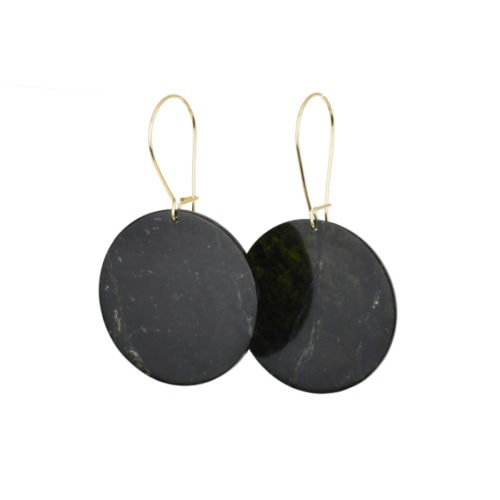 dark tangiwai pounamu earrings with gold hooks