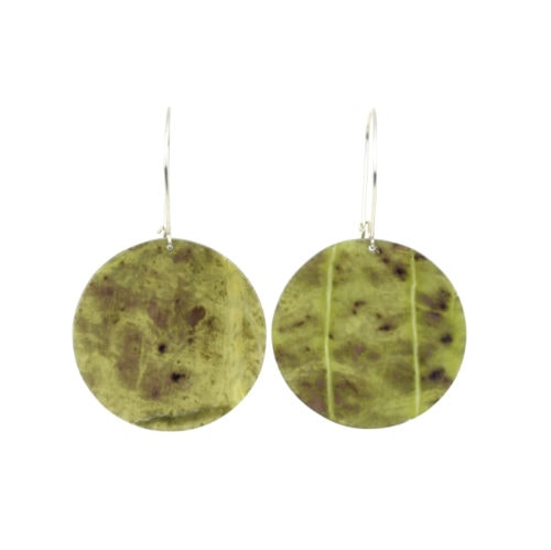 gorgeous green round pounamu earrings with sterling silver hooks